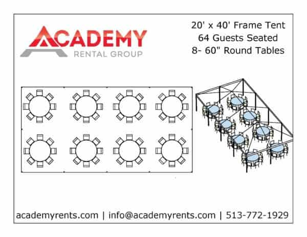 20x40 Frame Tent Layout_Round Tables