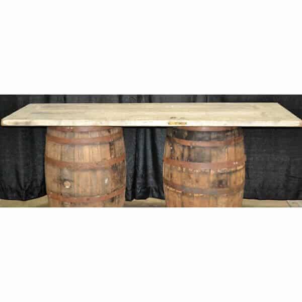Whiskey barrel gift table rental
