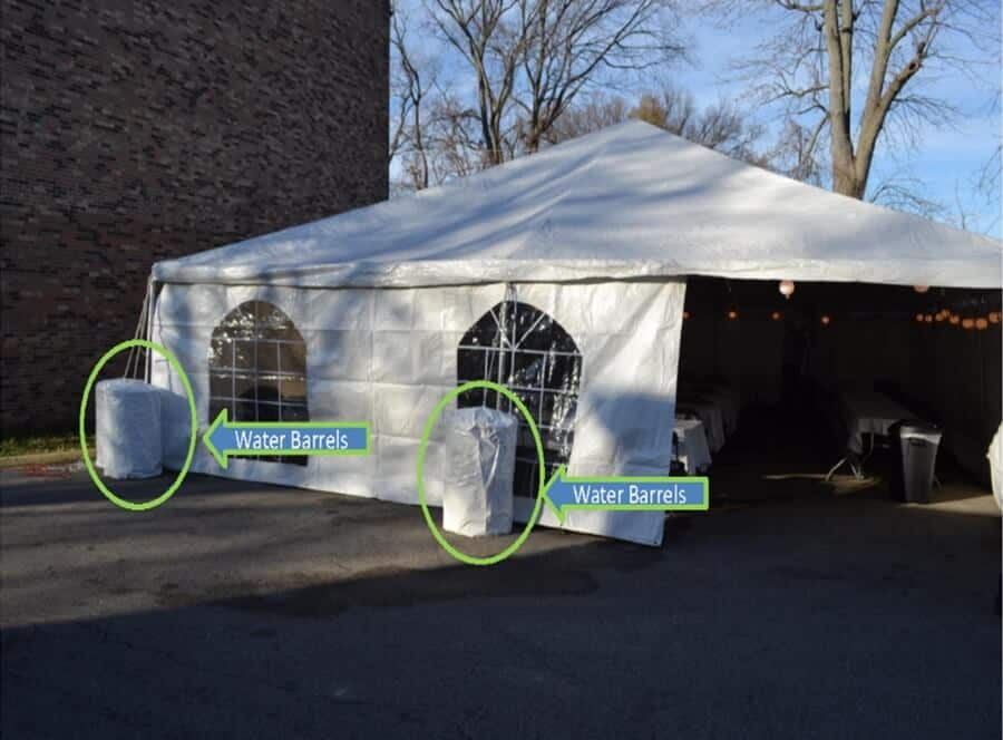 Frame Tent Anchoring_Water Barrels