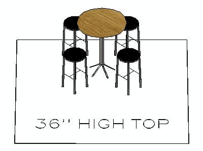 How many chairs fit around a 36 inch high top table