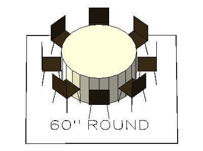 How many chairs fit around a 60 inch round table
